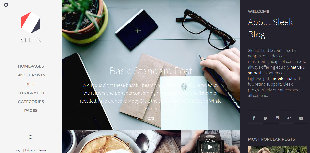 Sleek - Grid Style WordPress Themes