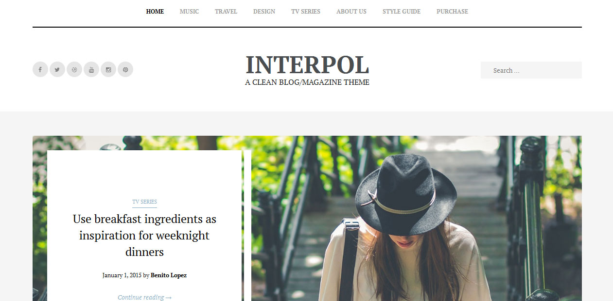 Interpol - Right Sidebar WordPress Themes
