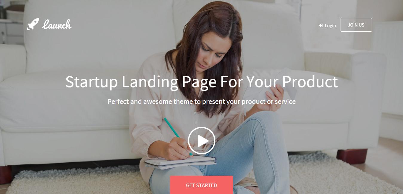Launch - Landing Page Bootstrap WordPress Theme