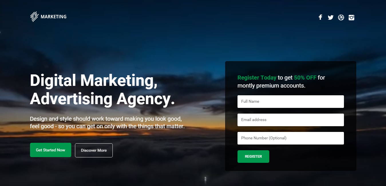 Marketing - WordPress Landing Page Bootstrap Theme