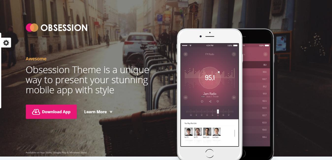 Obsession - Responsive App WordPress Theme