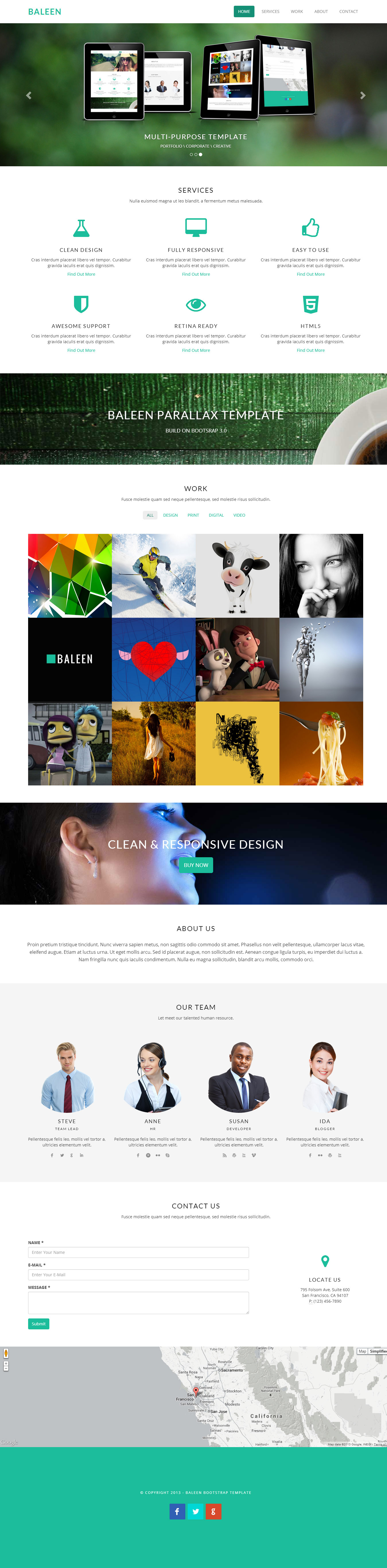 baleen bootstrap one page parallax template designorbital