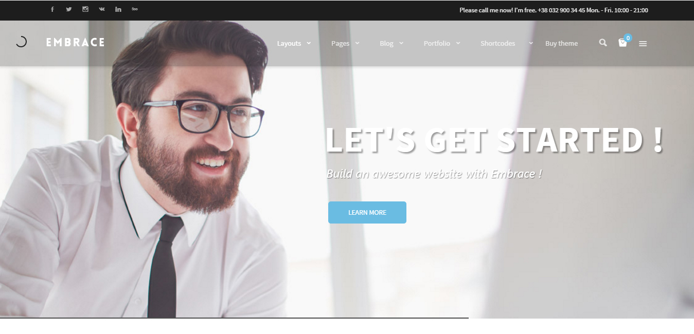 Embrace - Creative Corporate WordPress Theme