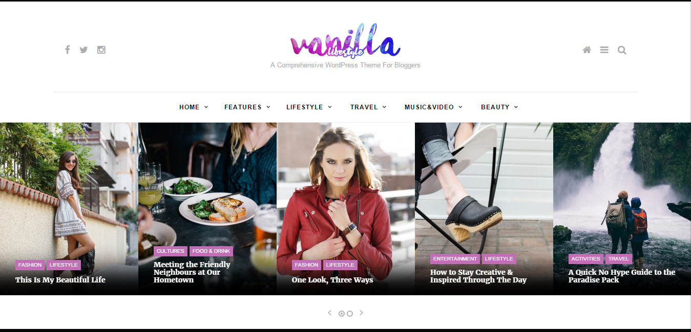 Vanilla - Lifestyle & Fashion WordPress Blog Theme