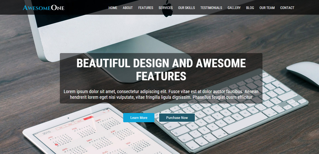 AwesomeOne - free business wordpress themes