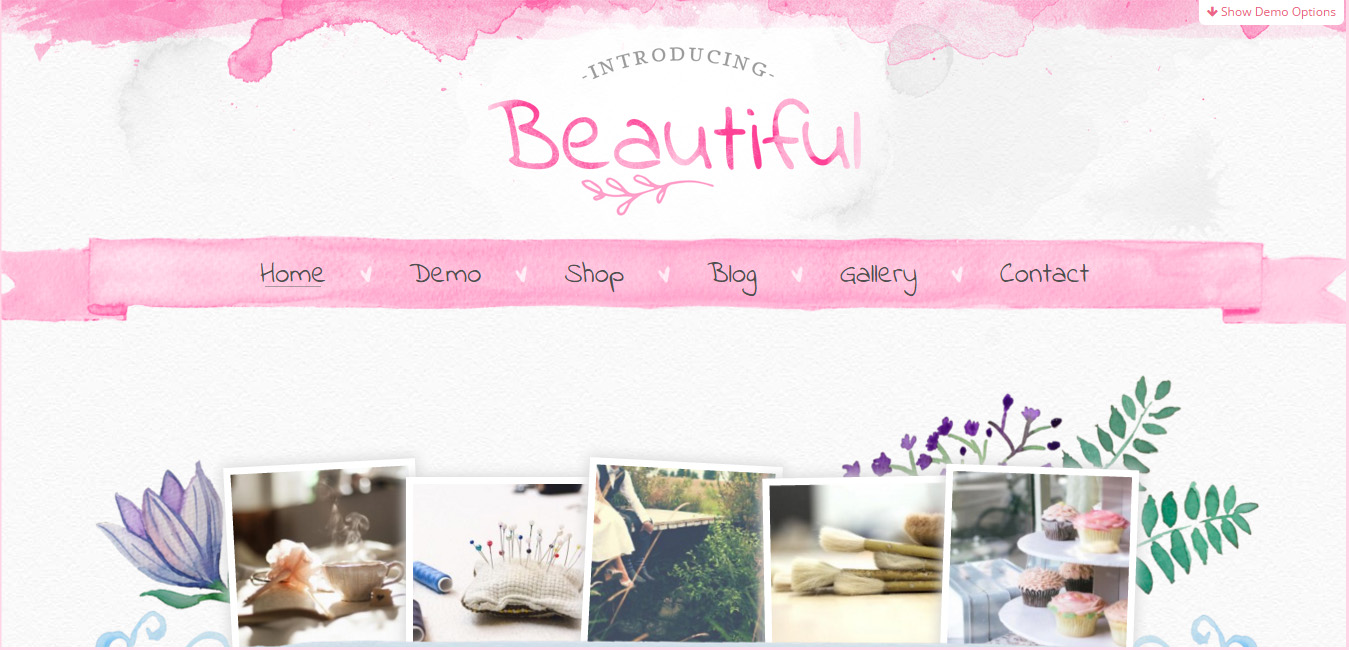 Beautiful Watercolor - Hand Painted WordPress Theme