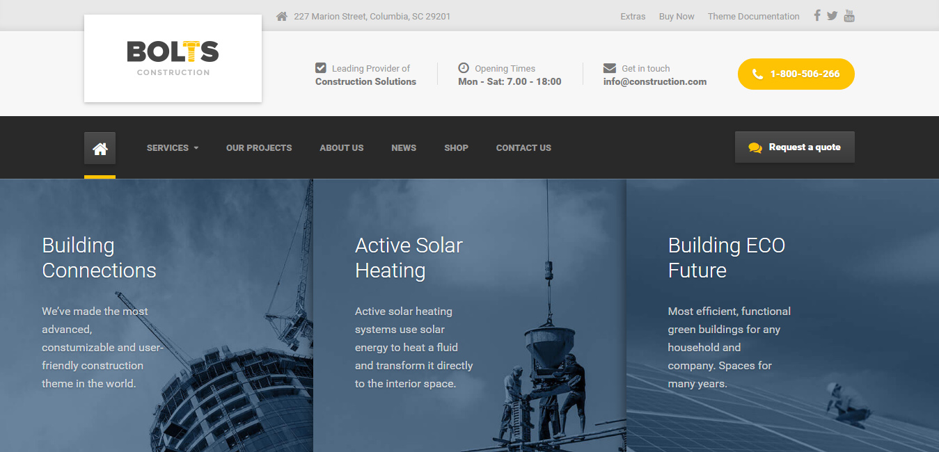 Bolts - WordPress Construction, Transport and Industry Theme