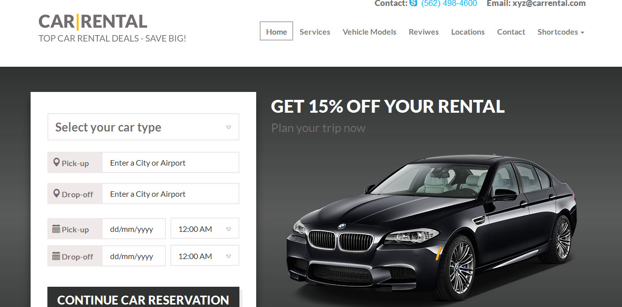 Car Rental - Car and Motorcycles WordPress themes