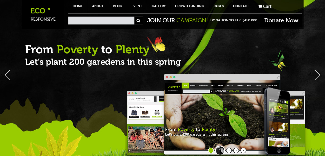 ECO Responsive green wordpress themes