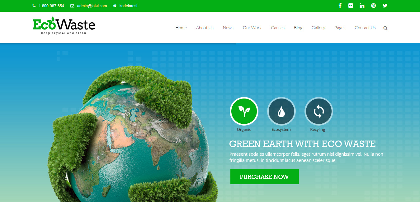 EcoWaste - Environmental WordPress Themes