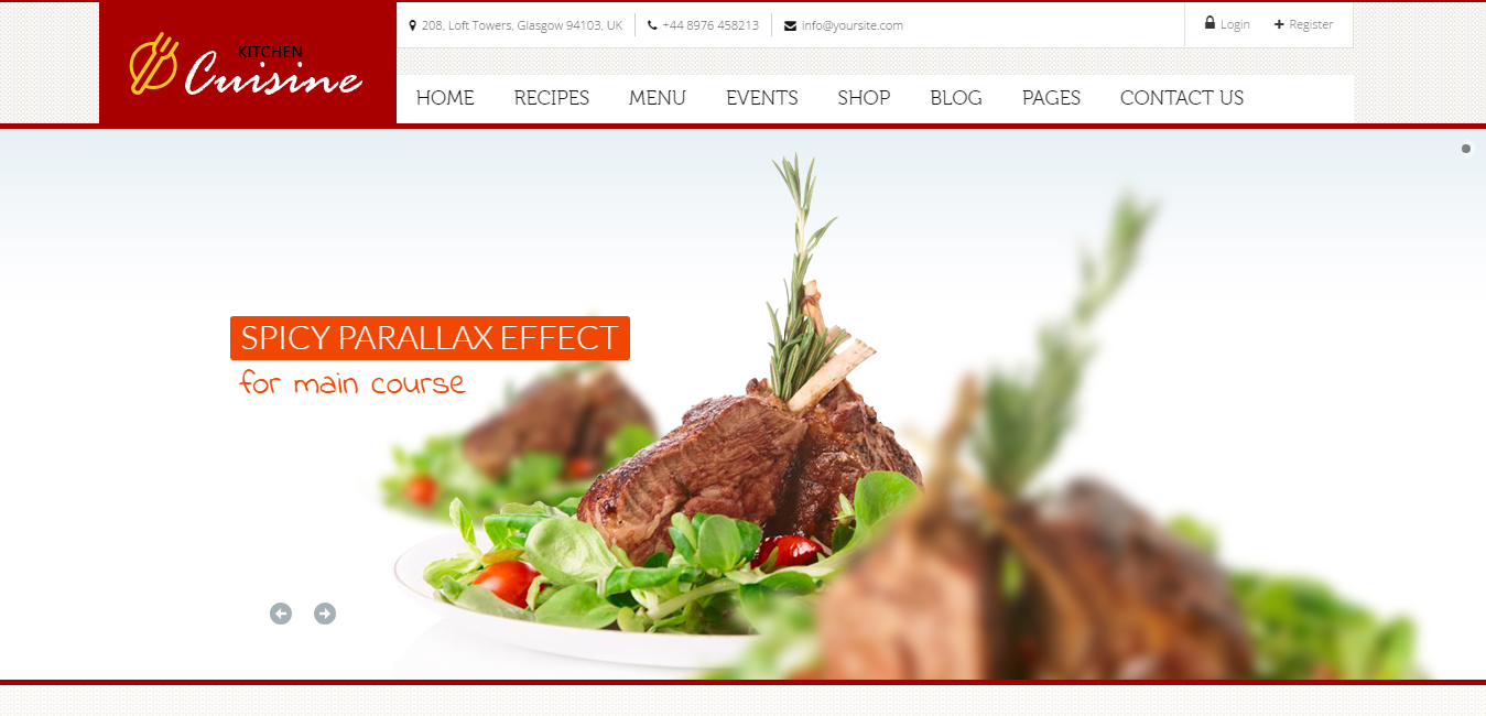 Kitchen Cuisine - Food Recipes WordPress Themes