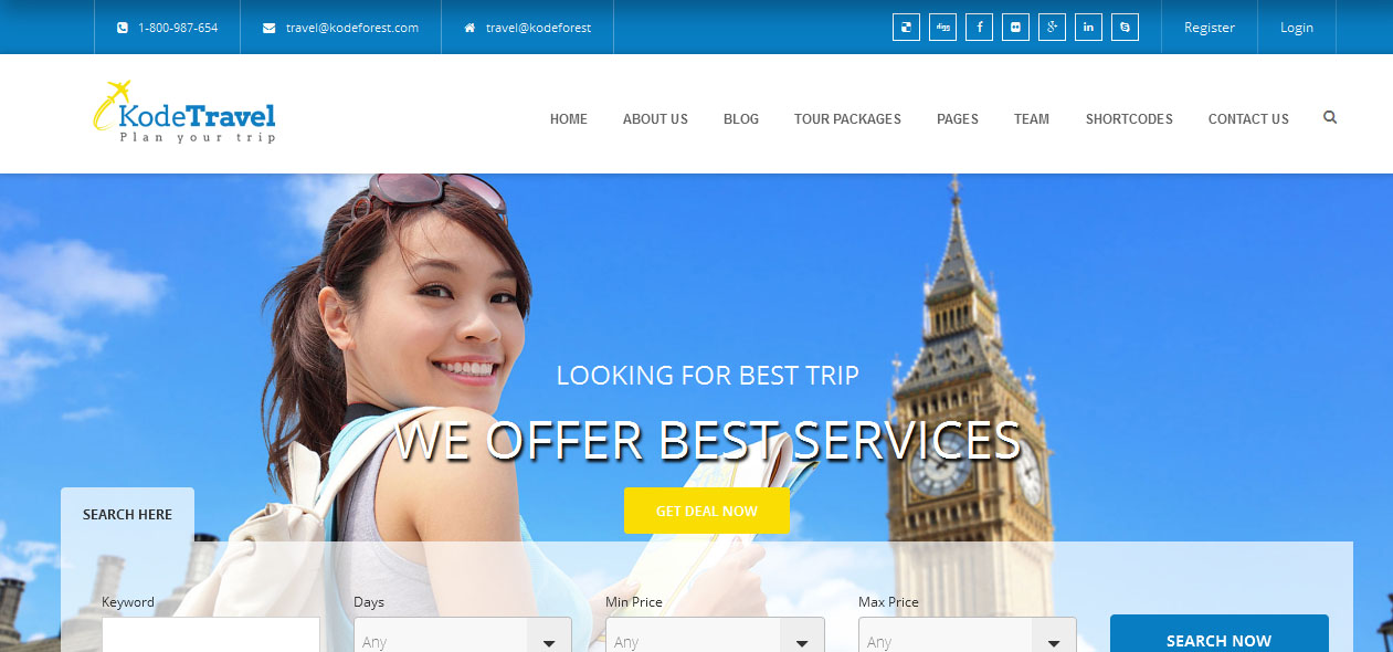 KodeTravel - Tourism WordPress Themes