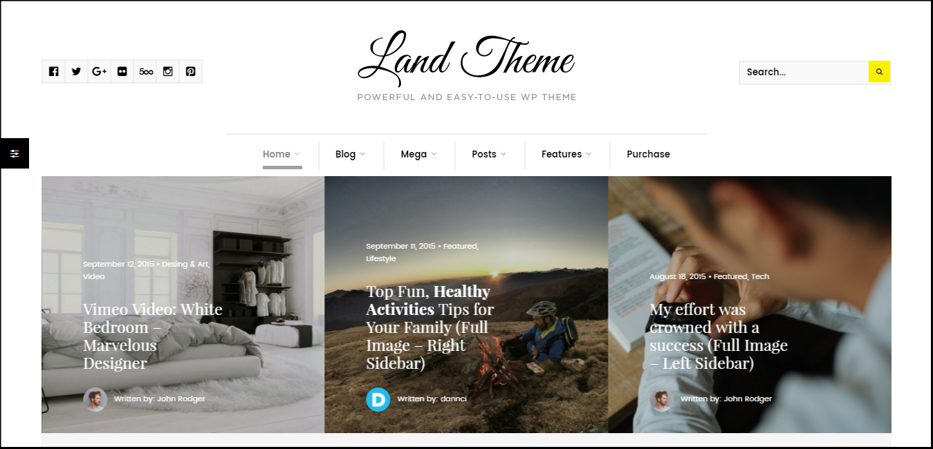 Land - Multi Topic Personal WordPress theme