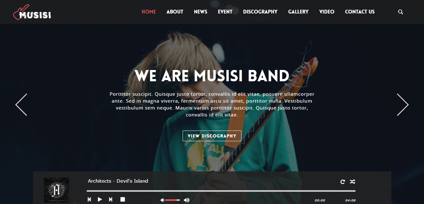 Musisi WordPress Themes for Musicians, Bands