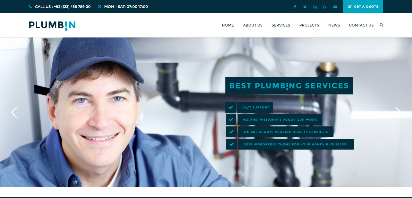 Plumbin - Plumbing Handy Business WordPress Theme