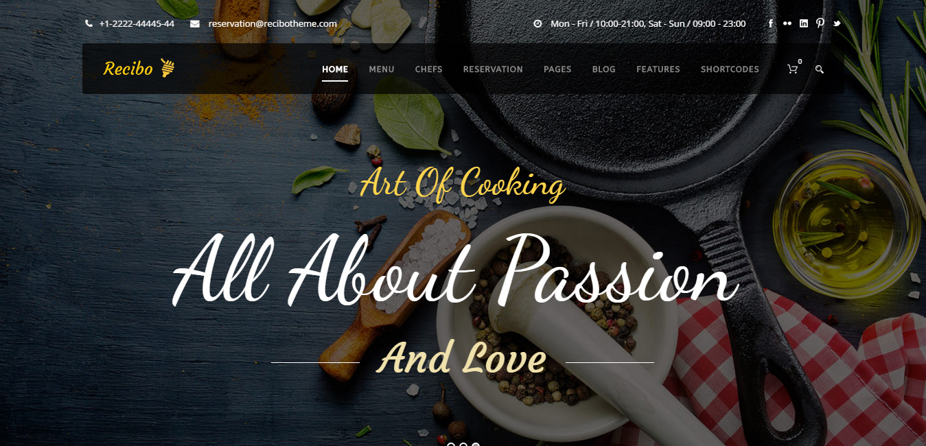 Recibo - Restaurant, Food, Cook WordPress Theme
