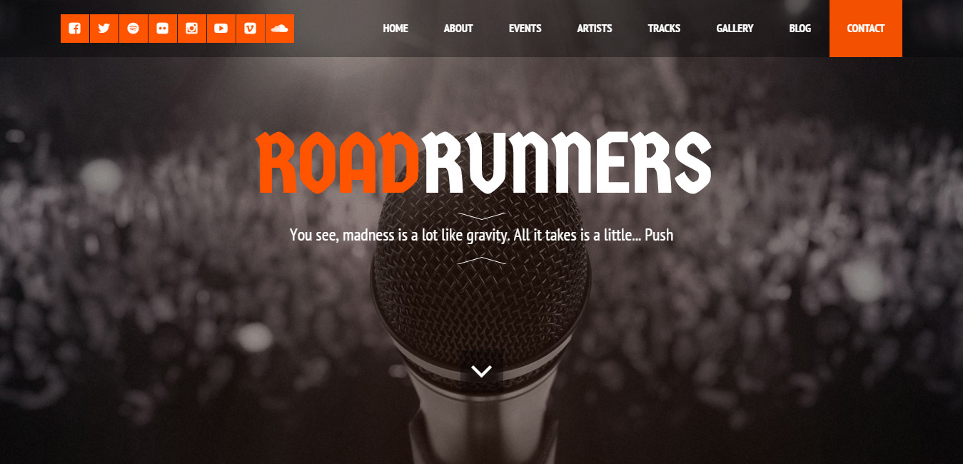 RoadRunners - One-Page Music WordPress Theme