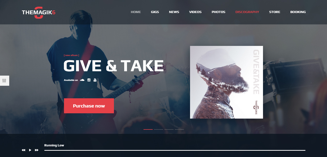TheMagic6 - Music Band or Musician WordPress Theme