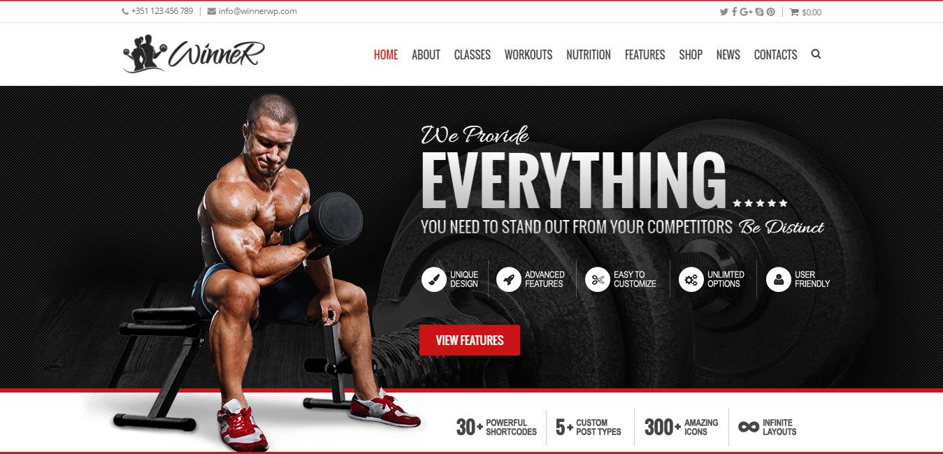 Winner - Sports, Gym & Fitness WordPress Theme