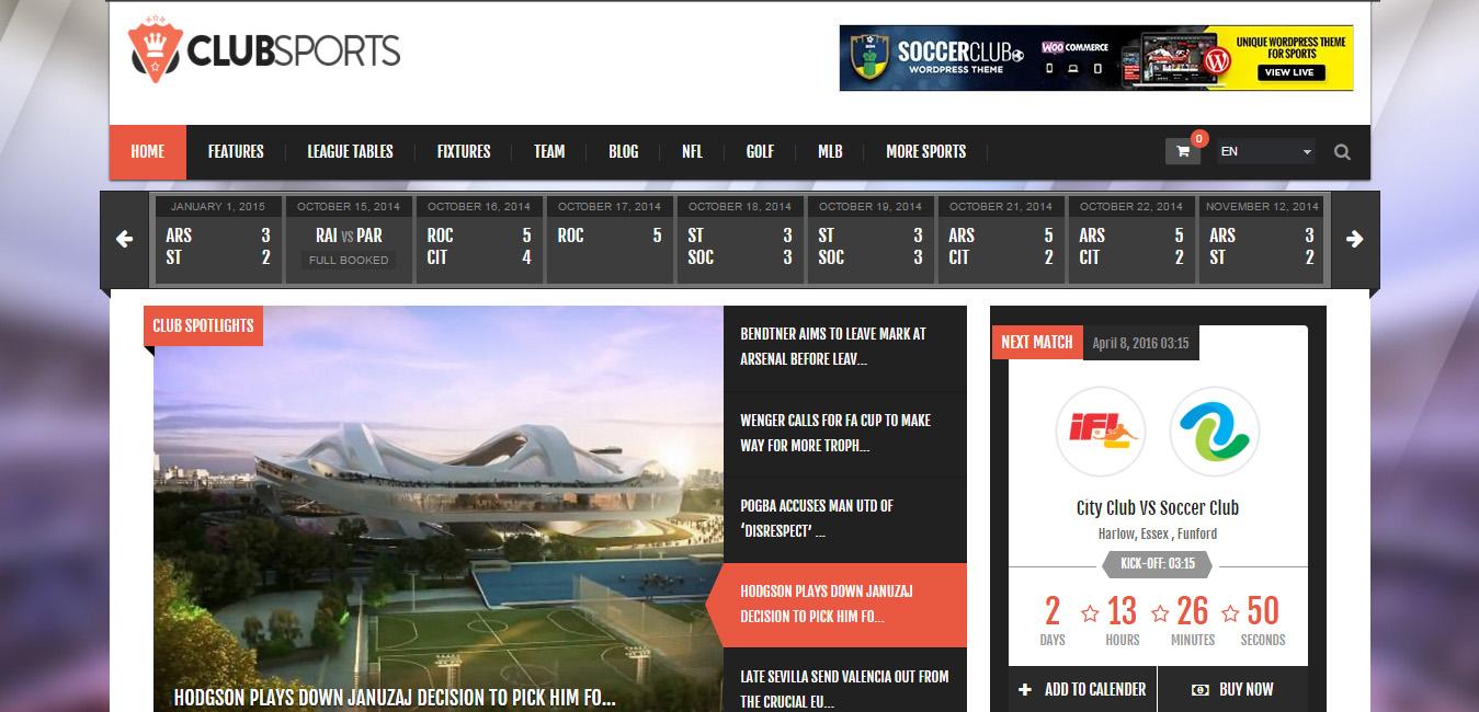 Club Sports - Football WordPress Themes