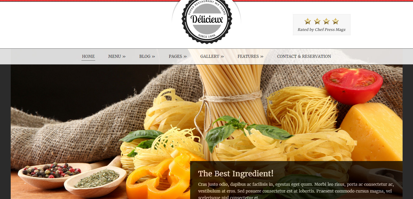 Delicieux - Cafeteria WordPress Themes