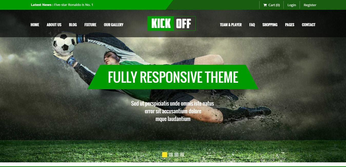 Kickoff Sports Club WordPress Theme