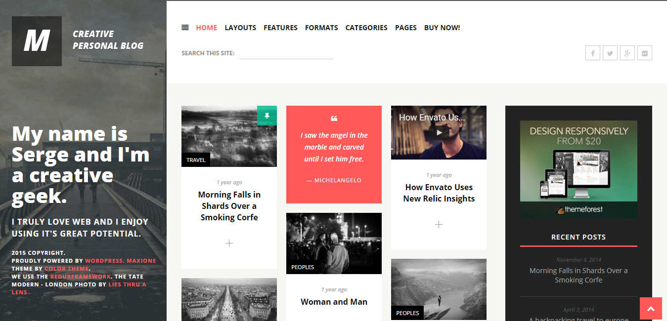 MaxiOne - Personal Blog WordPress Theme