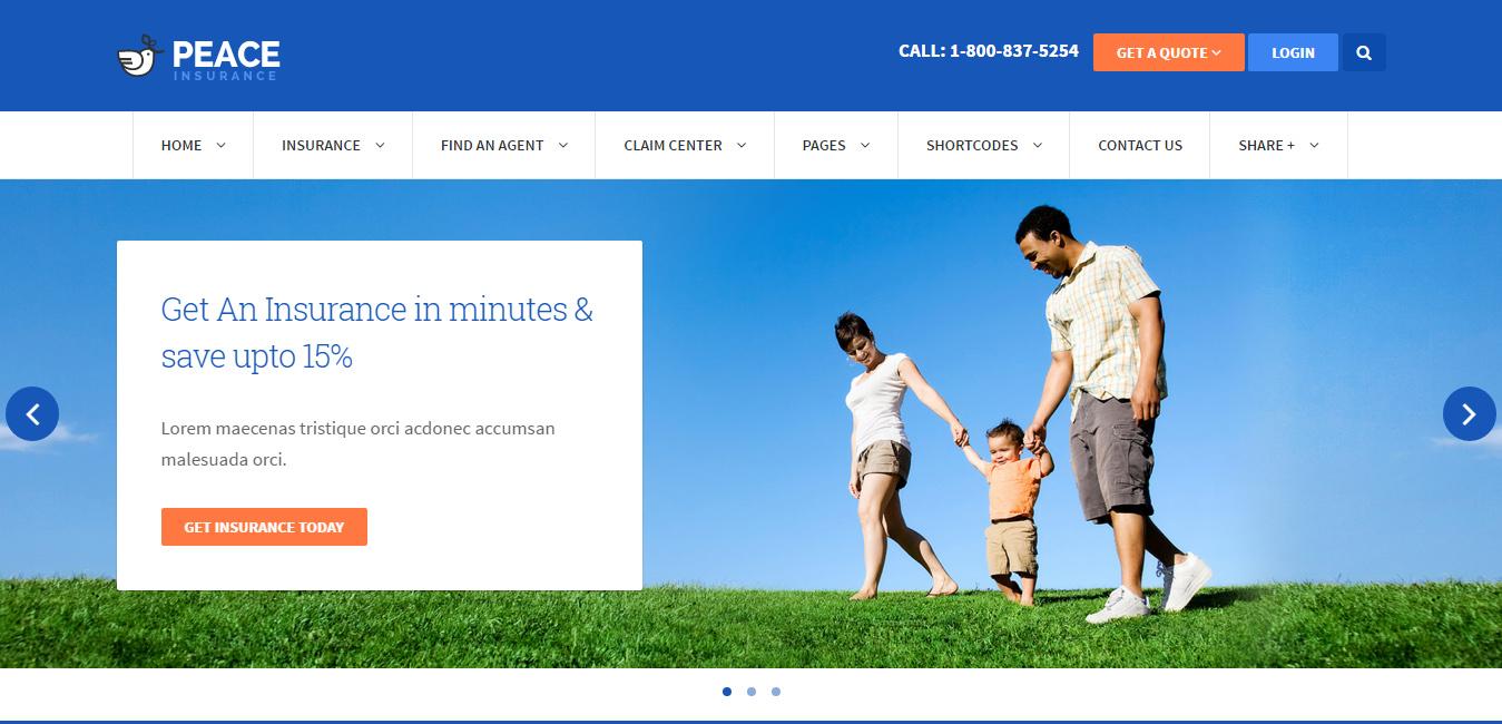 Peace - Insurance Agency WordPress Theme