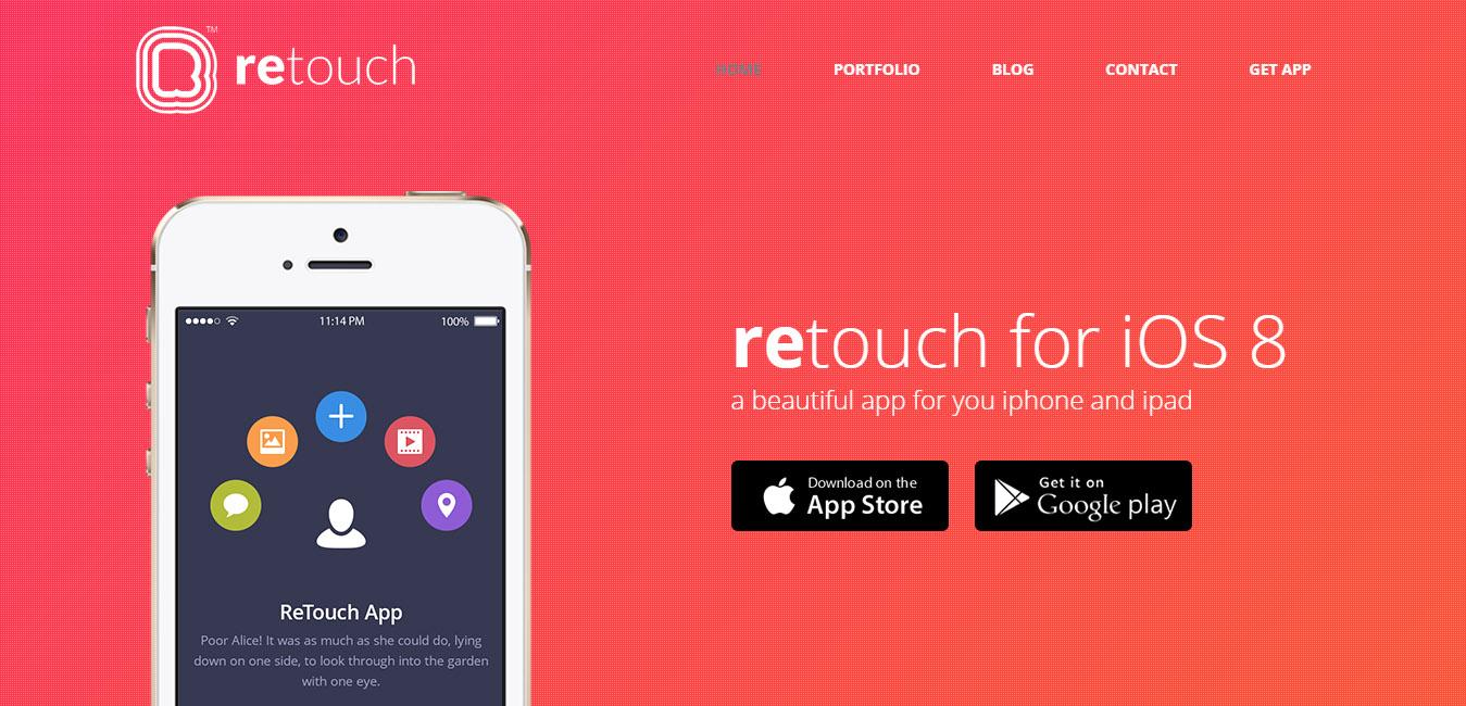 ReTouch - App WordPress Theme