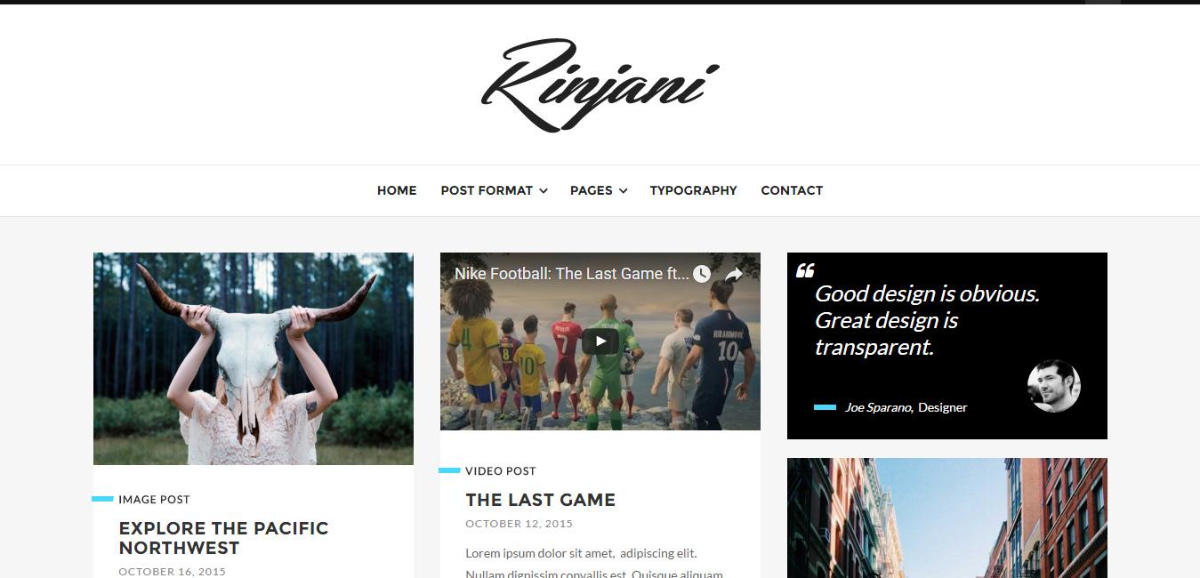 Rinjani - Responsive Grid Blog Theme