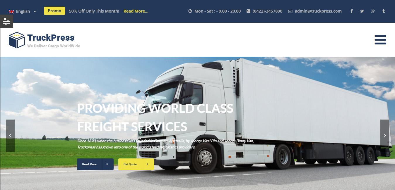 TruckPress - Transportation Business WordPress Theme