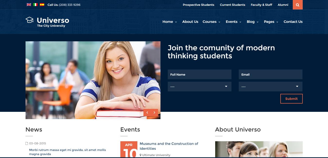 Universo - Education, Courses & Events WP Theme