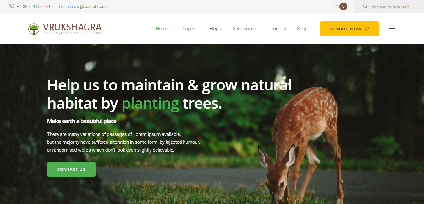 Vrukshagra - Environmental WordPress Theme