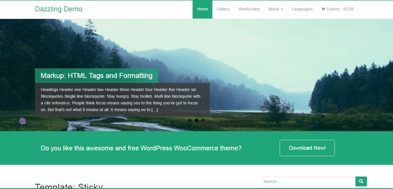 Dazzling - Free Flat Design WordPress Themes