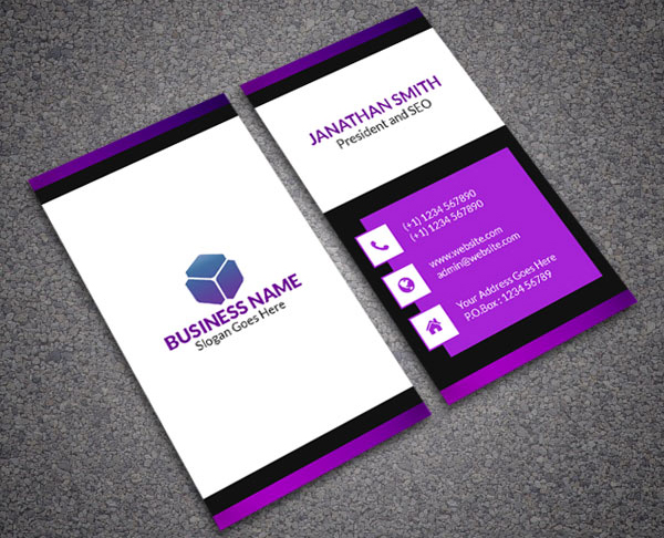 Violet Clean Corporate Business Card