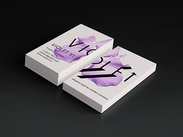 Violet Colored Flower Business Card
