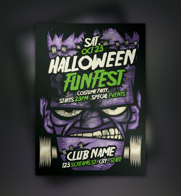 free-franky-halloween-flyer-template