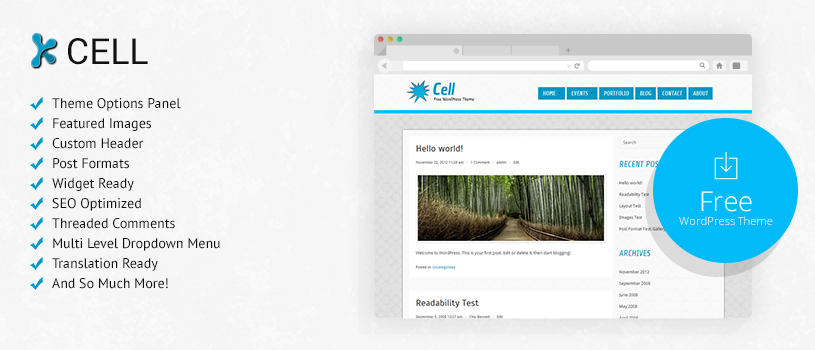 Cell Free WordPress Theme Preview