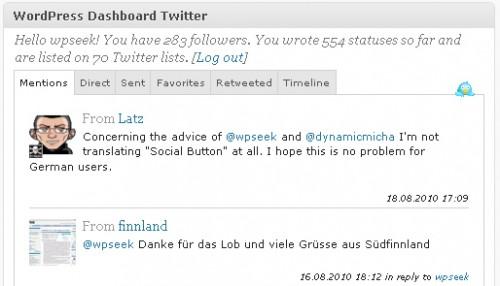 WordPress Dashboard Twitter
